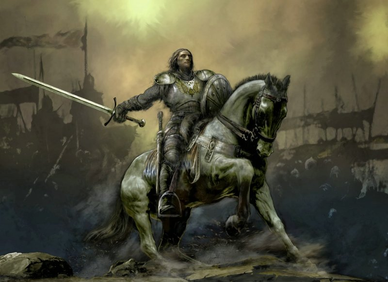 Ortaçağda kılıçlı bir şövalye